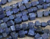 Lapis Lazuli Bead Strand, 6 mm Square, Natural and Handcut