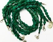 "Green Serpentine Bead 16"" Strand, 10 mm Flat Coin, Natural and Handcut, SERP1"