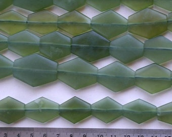 Green Jade Bead Strand, Large Flat Diamonds, Natural and Handcut