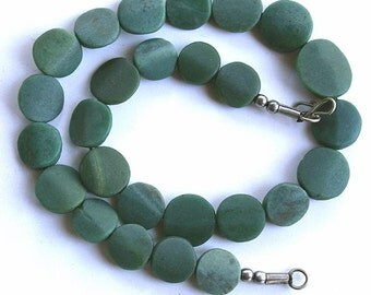 Green Serpentine Variegated Flat Coin Bead Strand, 12-18 mm, Natural and Handcut