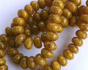 Crackled Amber Resin Roundelle Bead Strand, 10 mm