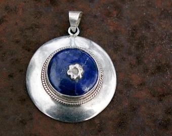 Lapis Lazuli Pendant: Afghanistan, Vintage Sterling Silver, N29