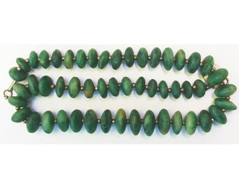"Green Serpentine 18"" Bead Strand, Graduated Roundelles, Natural and Handcut, SERP7"