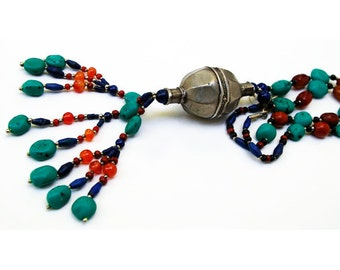 Beaded Turkman Necklace with Lapis Lazuli, Amber and Turquoise, Turk20