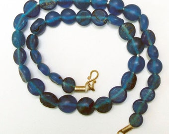 Antique Glass Beads:  Sandcast Blue from Ghazni, Afghanistan- Item 7