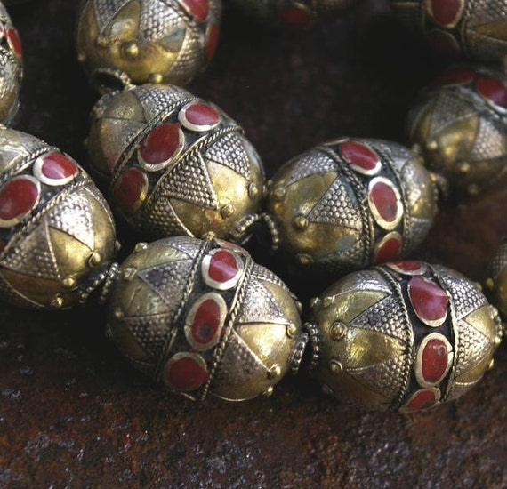Afghanistan- Coin Silver Tribal Bead, Red Resin