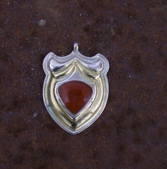 Afghanistan, Vintage Sterling Silver Carnelian Pendant, N34