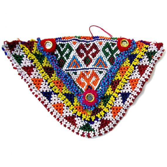 Ethnic Kuchi Beadwork: Afghanistan- Beaded Amulet, Triangle, Item 11