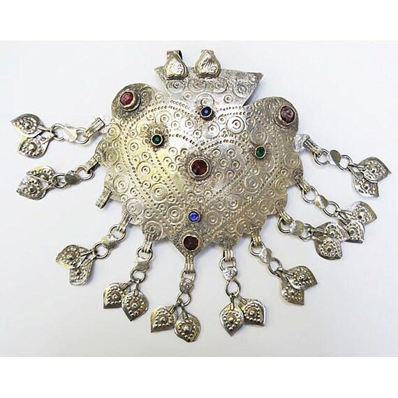 Vintage Kuchi Pendant: Afghanistan, Big Heart with Dangles, 60