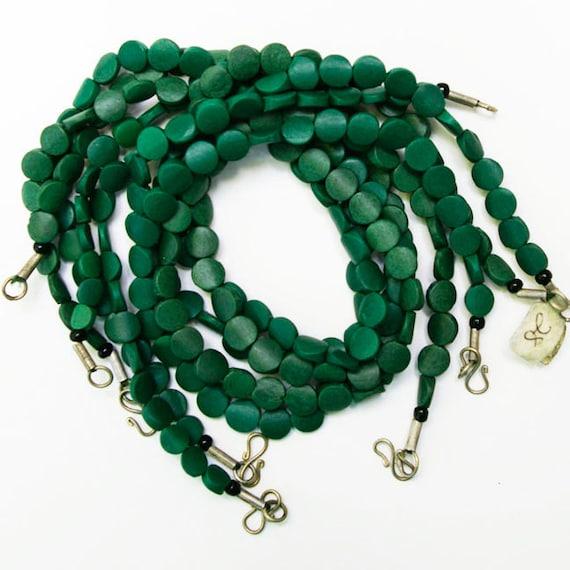 "Green Serpentine Bead 16"" Strand, 10 mm Flat Coin, Natural and Handcut, SERP1"