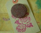 Love is Awesome vintage dark red wool Tweed covered brooch