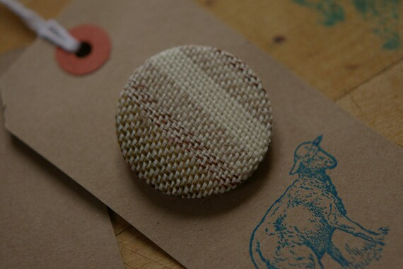 WOOL brooch covered in up-cycled 100% WOOL tie fabric