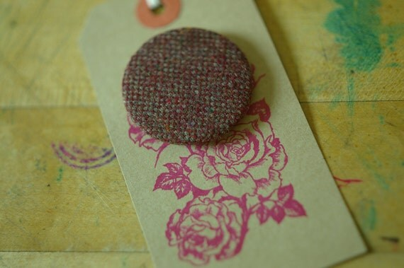Love is Awesome vintage dark red wool Tweed covered brooch