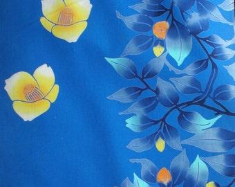Vintage Yukata Cotton - Yellow and Blue Hibiscus