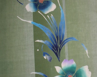 Vintage Yukata Cotton - Bright Olive with Blue Flowers