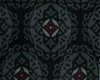 Vintage Kimono Cotton - Kasuri Medallion on Indigo Black