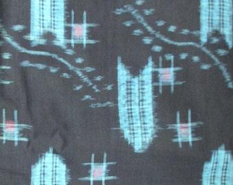 Vintage Yukata Cotton - Kasuri Turquoise Arrow on Indigo Black