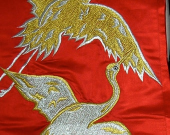 Vintage Kimono Silk Satin - Uchikake Red with Cranes