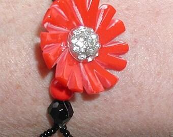 Vintage Red Floral Bracelet - Gold Filled Watch Band