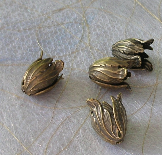 Tulip Beads - Tulip Bead Caps - Findings - Brass oxidized plated brass - Four (4)
