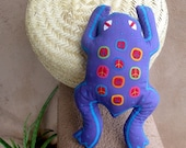 Purple Mola Peace Frog - SALE - Stuffed Animal - Kuna Indian Mola Hand Stitched Reverse Applique