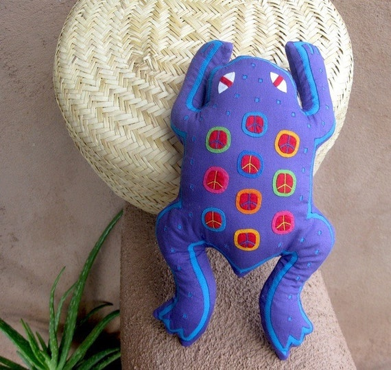 Purple Mola Peace Frog - SALE - Stuffed Animal - Kuna Indian Mola Hand Stitched Reverse Applique