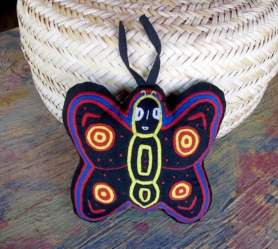 Herbal Mola Applique Butterfly - SALE-  Lavender Filled, Hand Stitched Kuna Indian Mola