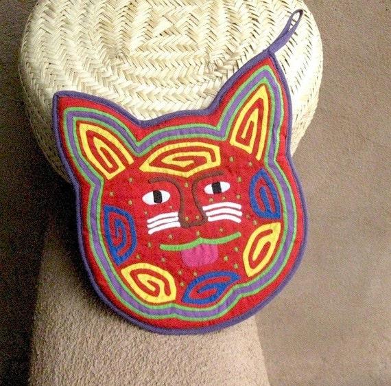 Happy Red Cat Mola Potholder - Stellar Kuna Indian Reverse Applique