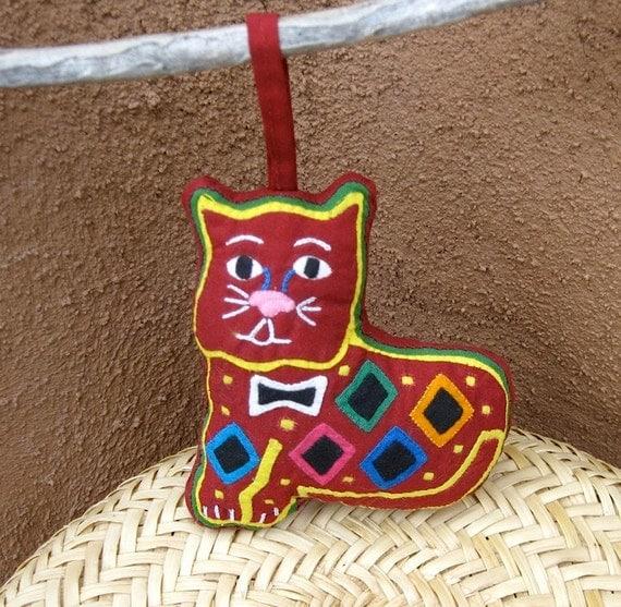 Adorable Mola Cat Ornament -  Kuna Indian Reverse Applique