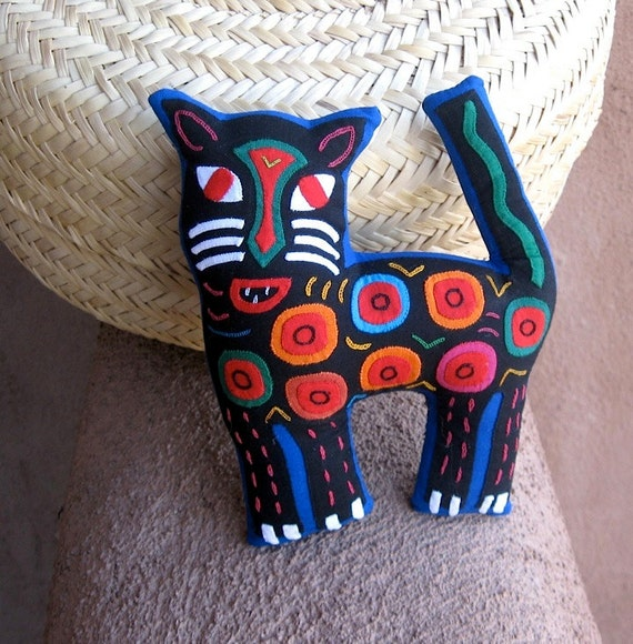 Stellar Mola Spotted Cat - Hand Stitched Kuna Indian Reverse Applique