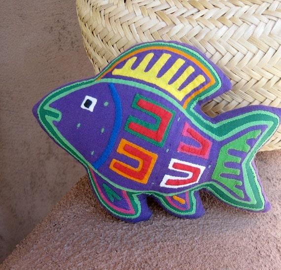 Purple Mola 'Prosperity Fish' - Lavender Filled - Hand Stitched Kuna Indian Reverse Applique