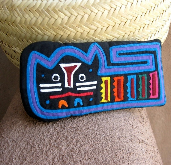 Crazy Cat Mola Eyeglass-Cell Phone Case / Kuna Indian Hand Sewn Reverse Applique