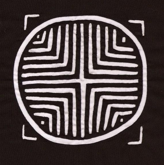 Rare, Black and White Traditional Kuna Indian Symbol Mola - Reverse Applique