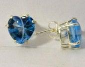 Beautiful Swiss blue Heart Earrings