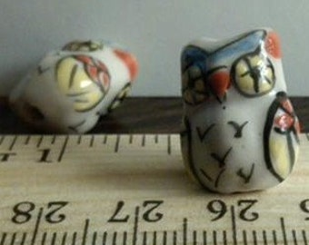 4 White with Blue, Red and Yellow Hand Painted Porcelain Owl Beads