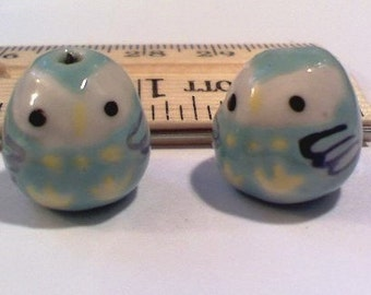 10 Turquoise Hand Painted Porcelain Owl Beads