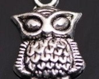 6 tibetan owl pendant charms 13mm x 21mm