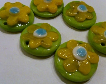 2 Green and Yellow Flower Glass Lampwork Beads