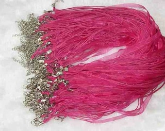10 Hot Pink necklace cord, ribbons