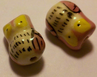 2 Pink with Yellow Eyes Hand Painted Porcelain Owl Beads