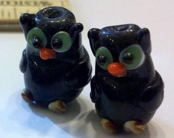 2 Black Handmade Glass Lampwork Owl Beads