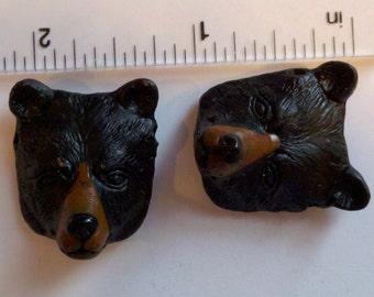 2 ceramic black bear heads