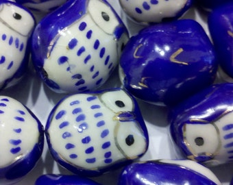 4 Cutesy Dark Blue Hand Painted Porcelain Owl Beads
