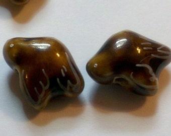10 Brown Hand Painted Porcelain Bird Beads