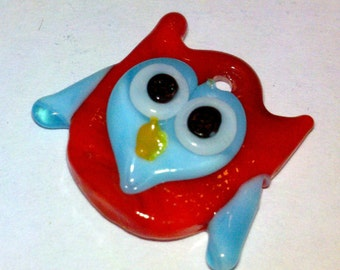 1 whimsical red and blue glass owl bead charm