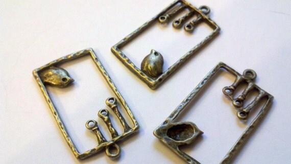 3 antiqued finish brass ( bronze ) bird, flower, rectangle, swing, pendant charm