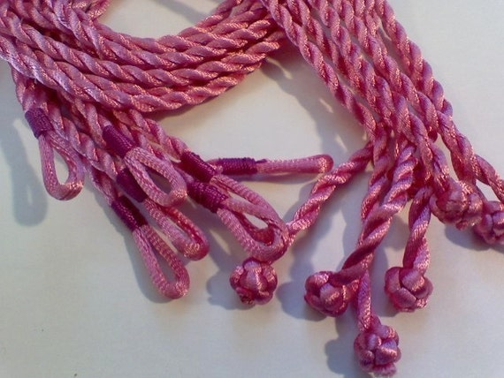 5 - 3mm dk. pink Colored Twisted Silk Cord Necklace 18 inch