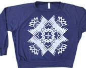 Tribal Print Tri-Blend Pullover - Heather Navy - LARGE