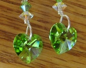 MJ Peridot Green 10mm Heart Earrings Swarovski Crystal Sterling 5mm