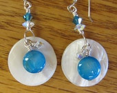 MJ Blue Mother of Pearl Disk with Swarovski Crystals Earrings 3mm